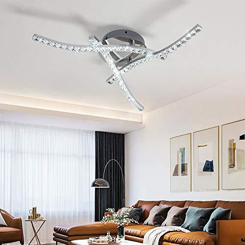 Osairous Plafoniera LED da soffitto, Plafoniera soggiorno18W Lampadari in cristallo LED integrati 1440LM Lampada da Soffitto per Camere da letto Soggiorni Cucina 6500K