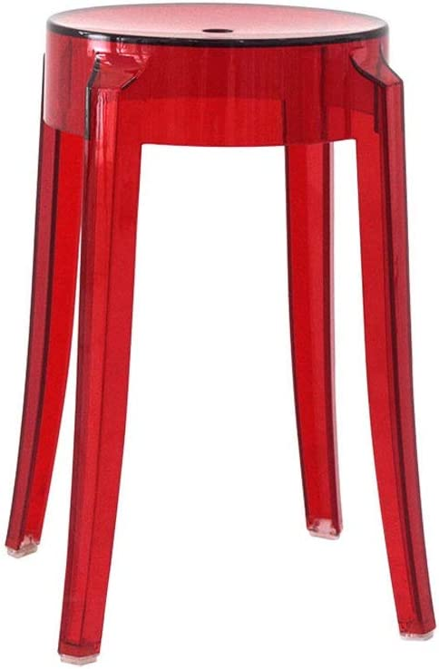 LF- Taburete de plástico de policarbonato transparente acrílico para evitar el envejecimiento, silla de comedor, silla de bar de cristal, taburete alto creativo, color: rojo, tamaño: 460 x 260 (mm)