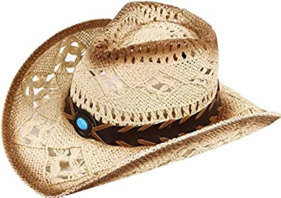 Toppers Mens Womens Costume Cowgirl Hat Wide Brim Woven Western Straw Cowboy Hat Beige