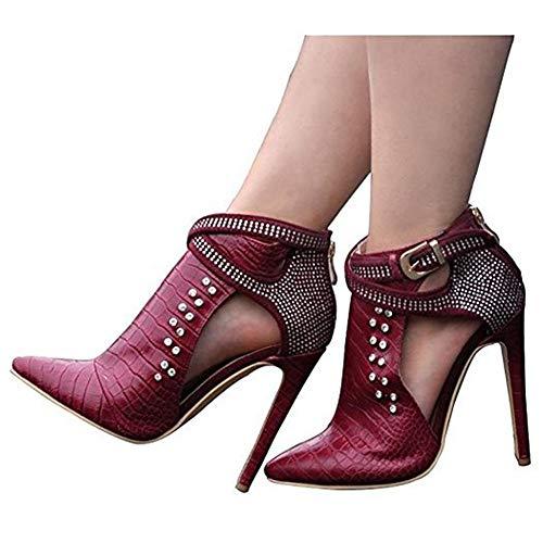Damen PU Schlange Spitz Heißes Bohren Hohl High Heel Stiefeletten Rotwein,Red,38
