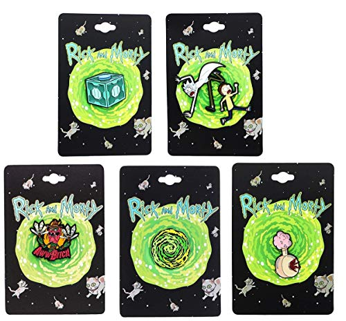 Rick and Morty Enamel Collector Pin Set: Meeseeks, Plumbus, Portal, Scary Terry