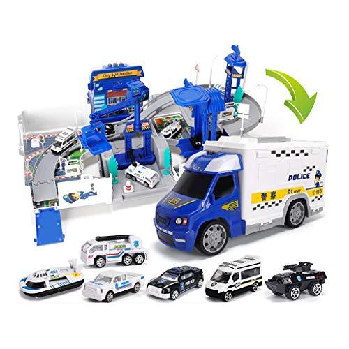 Toy Car Set, 6 pièces de Simulé Police de Voitures en Alliage Camion de Pompiers Ensemble, avec Parking Modèle de Rangement (Color : Blue)