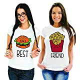 Coppia di T Shirt Magliette You And Me Best Friend Fast Food Bianche Donna Best S Donna Friend M