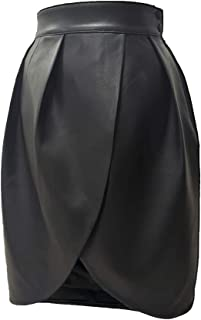 Women's Leather Pleated Skirt High Waisted Wrap Split...