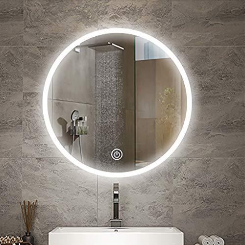 Badkamerspiegel met touchscreen, rond, modern, zonder verlicht frame, wit/warmwit, energiebesparend, diameter van de make-upspiegel: 60/70/80 cm