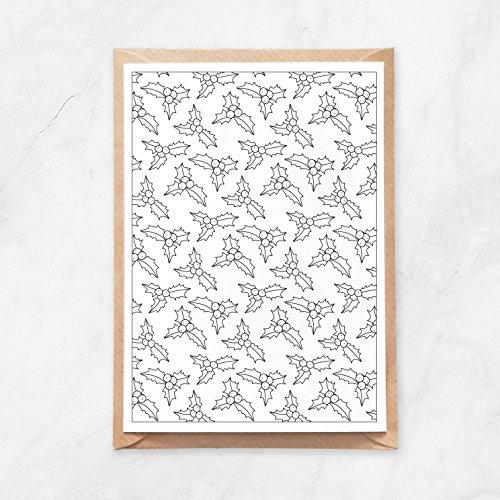 5 Stück, Postkarte zum Ausmalen, Weihnachtskarte, Ilex Stechpalme Muster Blätter, A6