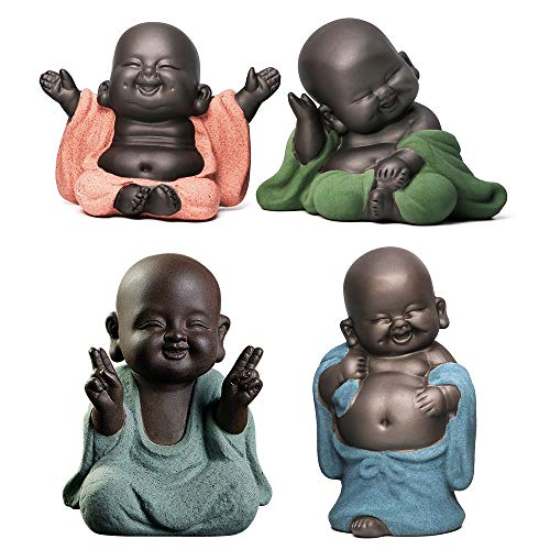 Kingzhuo A Collection of Cutie 4 Smiling Buddhas Laughing Buddha Statue Adorable Monk Figurines 4 Lovely Little Buddha Cutest Baby Buddha Great Details Giftable Make You Happy