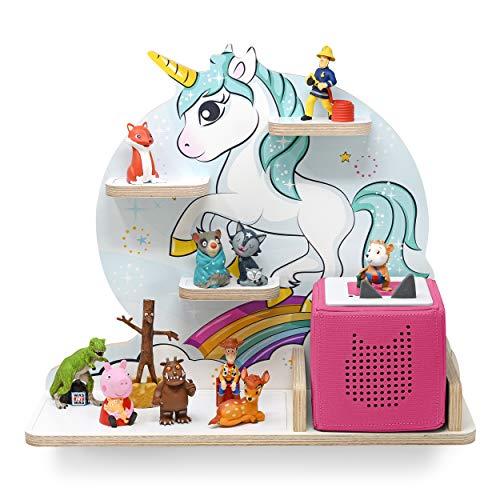 stadtecken kinderrek voor muziekbox, motief mini-eenhoorn, geschikt voor de geluidsbox en ca. 20 Tonies I cadeau-idee I spelen I verzamelen I opstellen of ophangen