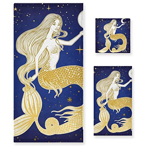 Juego de Toallas de baño de Lujo de algodón de 3 Piezas para Mujeres, Hombres, baño, Cocina, 1 Toalla de baño, 1 Toallas de Mano, 1 toallitas, Estrella de pez de Dibujos Animados, Sirena con Luna