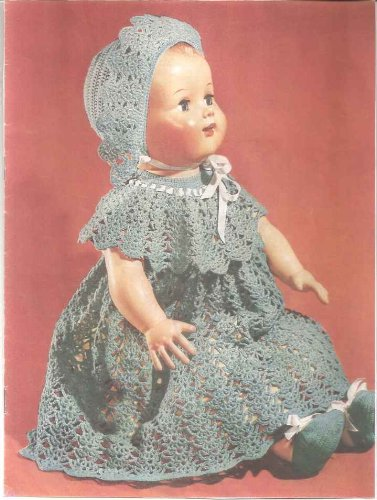 Vintage Crochet Pattern For A 22 Inch Baby Doll Dress, Hat And Shoes (English Edition)