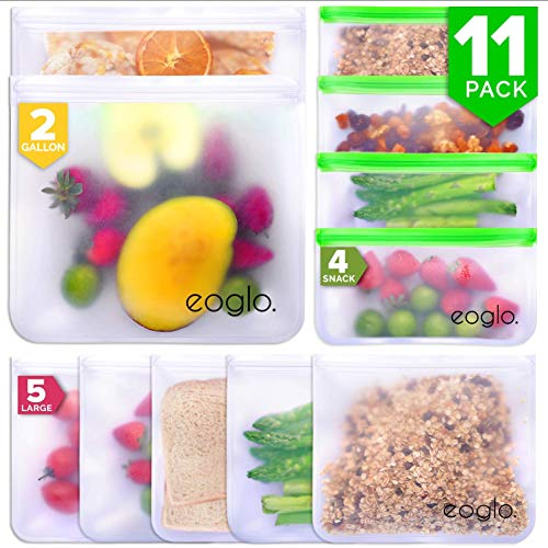eoglo Reusable Storage Bags (11 Pack) | To Go + Store + Freeze | Lunch Sandwiches | Kids Food | Snacks and Fruits | Travel Toiletries | Extra Thick | LeakProof | Resealable | BPA Free