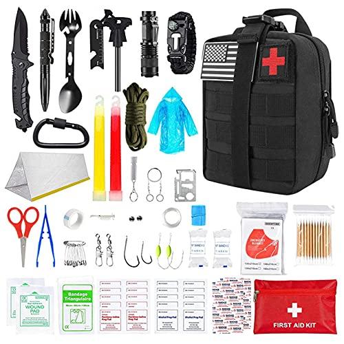 Ulapithi Kit de primeros auxilios para actividades al aire libre, kit de emergencia para fuerzas de rescate, camping, barco, caza, senderismo, casa, coche, terremotos y aventuras