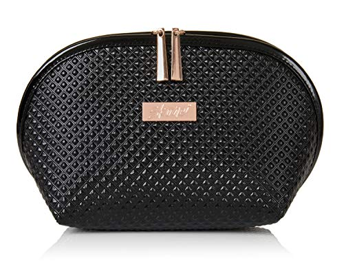 Luxury Designer Black Makeup Bag - Cruelty-Free Synthetic Patent Leather Cosmetic Bag | Leather Makeup Bag Accented with Luxurious Rose Gold Metal Zipper and Logo