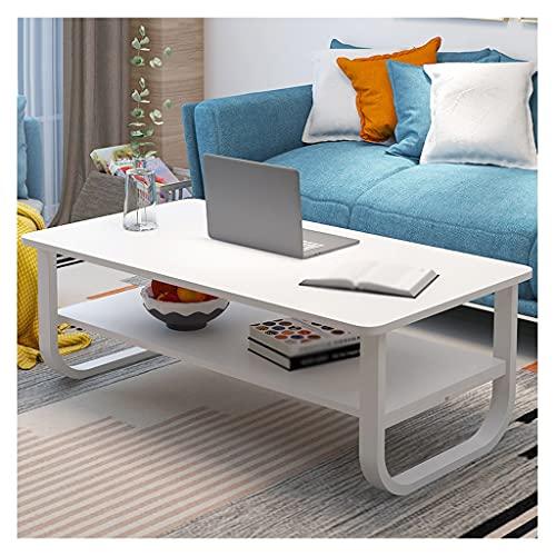 Mesas de café Mesa de centro de 2 capas Mesa de cóctel industrial de 2 capas Estante multifunción, usado en dormitorio Sala de estar Sofá Mesa de té TV Mesa de TV Mesa de Centro ( Color : White )