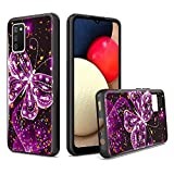 UNC Pro for Samsung Galaxy A02S Case, Purple Butterfly Gold Foil Embedded Hybrid Cell Phone Case for Samsung A02S, Shockproof Bumper Cover for Women Girls