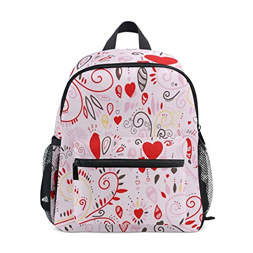 JinDoDo Kids Backpack Creative Love Heart Floral Pattern Children's School Bag for Kindergarte Preschool Boys Girls with Chest Clip