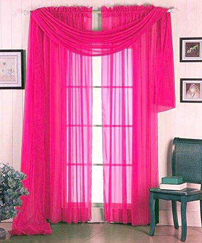 "GorgeousHomeLinen 3PC Hot Pink 2 Sheers 84"" Length Rod Pocket Window Curtain Panels & 1 Elegant Swag Scarf Valance 216"" Length"