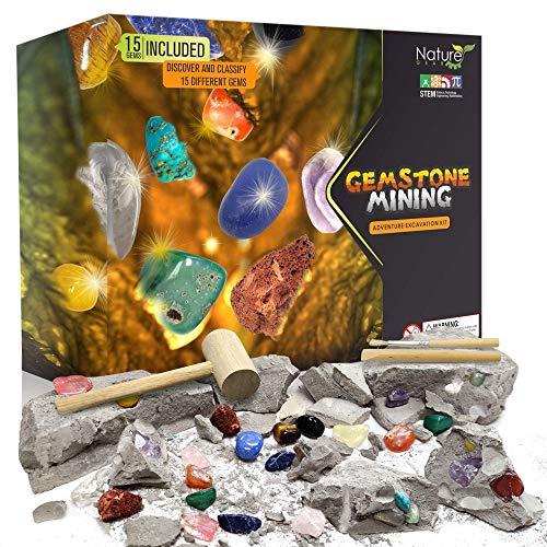 Nature Gear Gemstone Mining Excavation - Discover 15 Precious Gems - Mining Adventure Kit - Science STEM Learning Kids Activity