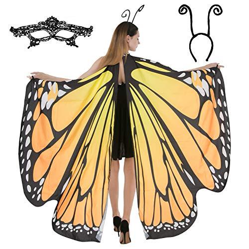 레이스 마스크와 블랙 벨벳 안테나 헤드밴드 성인 여성 할로윈 의상 액세서리를 갖춘 나비날개 케이프 숄