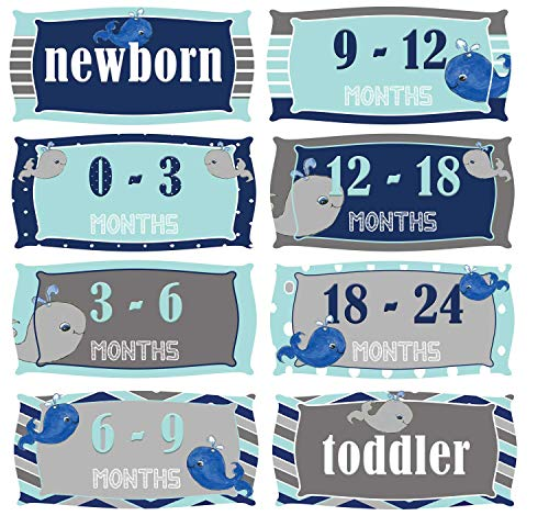 Mumsy Goose Boy Nursery Clothes Drawer Labels Blue Grey Whales Bin Organizers Nautical Dresser Stickers