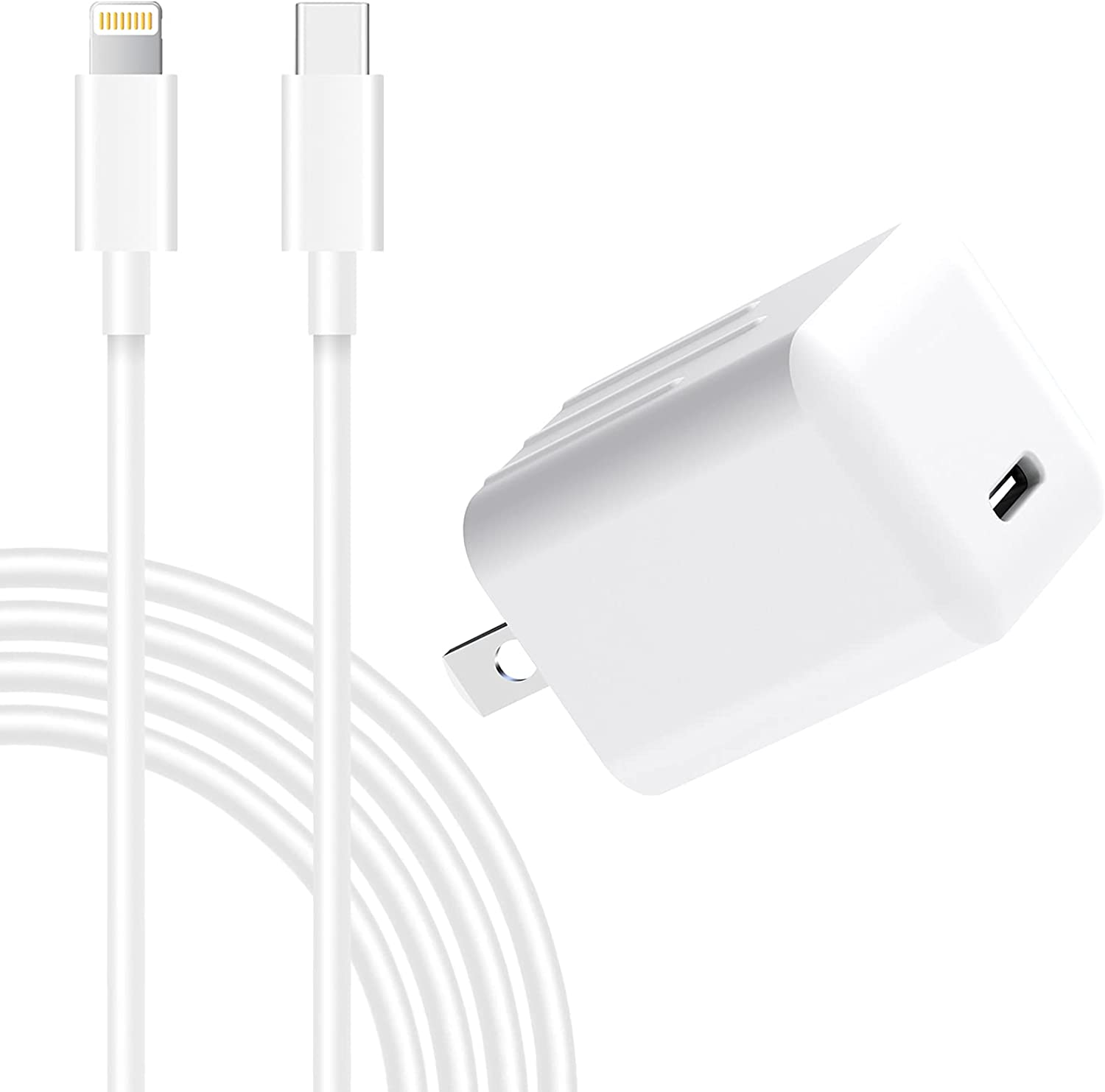 iPhone 13 12 Fast Charger, Wall Charger Quick charging 20W USB Plug Adapter with 6FT Type C to Lightning Cable[Apple MFi Certified]Compatible with iPhone 13 12 Pro Max 11 Xs XR X 8 Plus iPad Air Mini