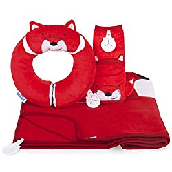 Microbead filling for a soft and supportive fit Hidden magnets hold the neck rest together, supporting the chin Trunki Grip to keep a blanket or teddy bear close by Cosy plush fabric for extra comfy snoozes Snuggle Bundle Felix - Yondi, Blanket & Sea...