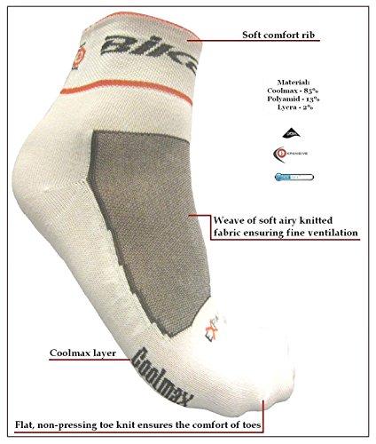 eXPANSIVE Cyclisme Vélo Chaussettes Coolmax Blanc 064/07 Taille UK 2.5 – 5 (EUR 35 – 38)