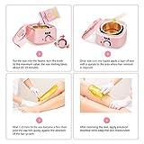Y.F.M Wachswärmer Wachs Haarentfernung, Wachsmaschine Set Wax Warmer Heater Waxing Kit Wachserhitzer, Wax Enthaarung Set mit 20* Holzspateln, 10* Anti-Fleckenring, 4 * 100g Wachsbohne Pink - 6