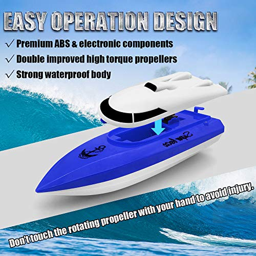 Electric RC Boat 2.4GHz, econoLED 2020 Upgrade Remote Control Boat,High Speed Remote Control Racing Boat Toys for Pools and Lakes with Extra Battery - Best Gifts for Adults Kids Boys Girls (Blue)