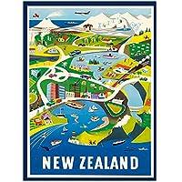 ヴィンテージトラベルニュージーランド アートプリントシルクポスター家の壁の装飾部屋の美学50x70cmx1フレームなし