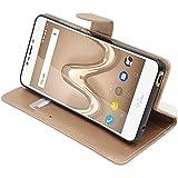 ebestStar - kompatibel mit Wiko Tommy 2 Plus Hülle Kunstleder Wallet Hülle Handyhülle [PU Leder], Kartenfächern, Standfunktion, Gold [Phone: 155.3 x 76.8 x 8.9mm, 5.5'']