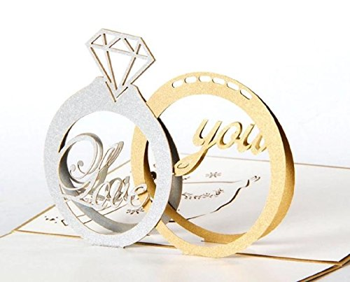 rubitas 飛び出す グリーディング メッセージ カード ホップアップ 色紙 手紙 寄せ書き アルバム 誕生日 (結婚指輪)