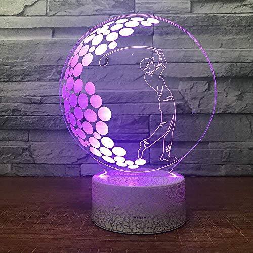 Luz de noche ilusión 3D 7 colores LED interruptor de escritorio de visión mesa de golf sala de estar dormitorio de inducción colorido regalo creativo Control remoto