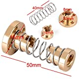 ELECTROPRIME T8 8mm Anti -Backlash Spring Loaded Nut Screw for 3D Trapezoidal Rod Lead Brass