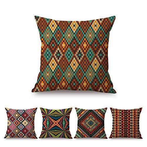 JWEK Set di 5 Cuscini Etnici Geometrici africani Geometrici Set di Decorazioni per la casa in Cotone e Lino Divano Cuscino Pad Federa 45x45 cm