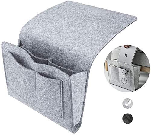 Esteopt Felt Bedside Storage Hanging, Bedside Storage Pockets Bunk Bed Storage Bag Bedside Organizer Caddy For Room Grey