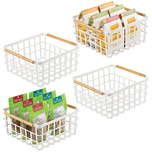 mDesign Juego de 4 cajas multiusos de metal – Caja organizadora multifunción para cocina, despensa, etc. – Cesta de...