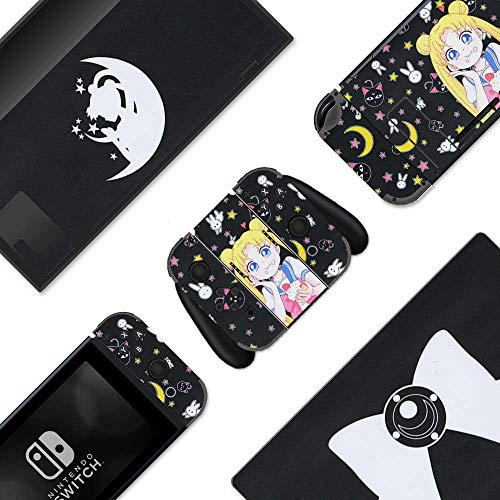 BelugaDesign Moon Switch Skin | Magic Girl Bow Cat Sticker Wrap Vinyl Decal | Full Set Compatible with Nintendo Switch Console, Joy-Con, Dock - Black