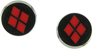 Black Plated Harley Quinn Logo Stud Earrings