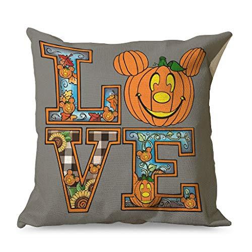 OwlOwlfan Love Halloween Pillowcase Printing Comfortable Cotton Linen Throw Pillow Covers for Guest Room Children's room Resort white 45x45cm