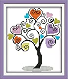 Maydear Cross Stitch Kits Stamped Full Range of Embroidery Starter Kits for Beginners DIY 11CT 3 Strands - Giving Tree 13×15(inch)