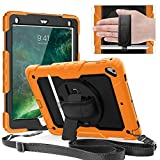 Weuiean Compatible with iPad Pro 9.7 Case 360 Degrees Rotate Hand Controll with Built-in Stand Screen Protector Full-Body Shock Proof Protective Case for iPad Pro 9.7 A1673 A1674 A1675 - Light Orange