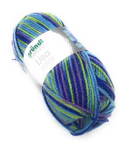 NEU Gründl Lisa Premium color, 50 Gramm, 100 % Polyacryl, 18 Farbkombinationen, (15 blau-grün-royal)