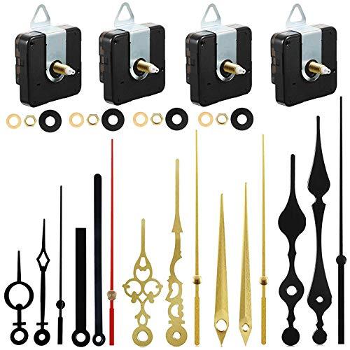 4 Piezas Mecanismo de Movimiento de Reloj, TRUBUY Largo y Alto Torque de Motor de Reloj de Cuarzo con 5 pares Diferentes de Manos de Reparación de Reloj Reemplazo de Piezas