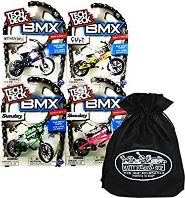 Tech Deck BMX Complete Gift Set Bundle with Matty's Toy Stop Storage Bag - 4 Pack (Assorted Series)