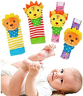 aimibaby Baby Wrist Rattle Toys Socks - Infant Wrist Rattles and Foot Finder Set, Toddler Early Educational Development Soft Animal Toy for Boys and Girls 4 Pack