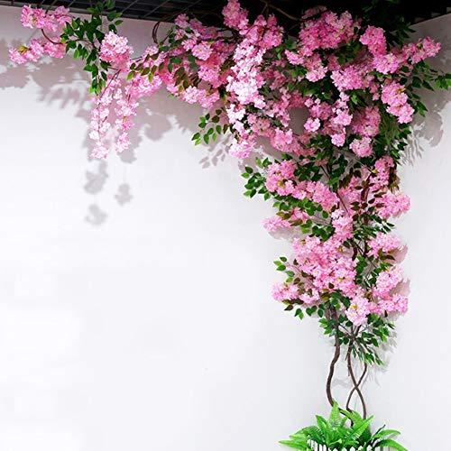 BCXGS - Árbol artificial de imitación de flores casi natural, ramas de árbol, vid de cerezo falsa planta de cerezo para decoración de hojas de ratán grande árbol verde de pared