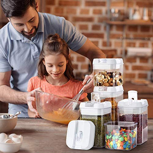 HOMESTO Airtight Food Storage Container Set - BPA-Free - Kitchen Organization Containers for Flour, Cereal with Improved Lids (7 Piece) - Includes Labels