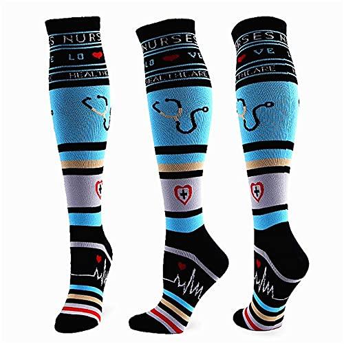 3 paia 58 calze di compressione unisex di qualità di stili Calze da ciclismo adatte a edema,vene varicose, calze da corsa da maratona-a112-S-M