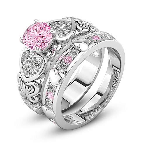 Janly Clearance Sale Anillos para mujer, diamantes de cristal de circonita con forma de corazón, anillo de diamante rosa, joyería y relojes para Navidad, día de San Valentín (7)